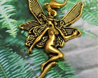 Elegant Antique Gold Big Fairy Charm