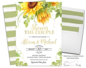 Sunflower Bridal Shower Invitation - Couples Bridal Shower Invitations - Shower The Couple Invites - Coed Bridal Shower - Summer Engagement