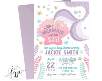 Mermaid Baby Shower Invitation - Under The Sea Baby Shower - Mermaid Shower Invite - Mermaid Invitation - Baby Girl Shower - Pink and Purple
