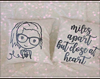Avatar pillow, couples gift, Choose your image pillow, your signature pillow, missing you gift, long distance relationship, living apart