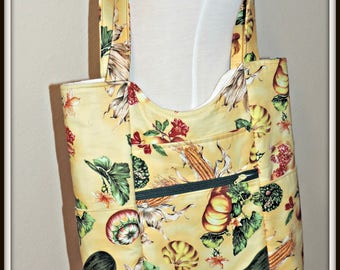 Market Tote, large carryall tote, gift for her, farmers market print handbag, vintage look fabric tote