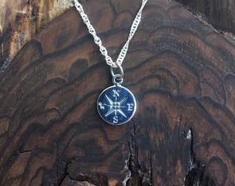 Compass Sterling Silver Charm Pendant, Necklace  /Teenager gift / Travelers gift / Sterling Silver /co-worker gift / bridesmaid gift