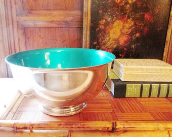 Vintage Reed and Barton Footed Green Enamel Bowl, Paul Revere Reproduction, Silver Enamel Bowl, Palm Beach Decor