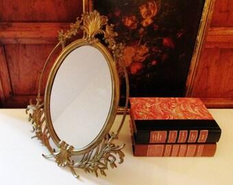 Neoclassical Brass Mirror, Hollywood Regency,Standing Brass Vanity Mirror, Free Standing Mirror, Makeup Mirror, Oval Mirror
