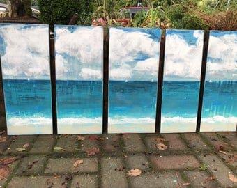Original Painting Sander 5 Piece Seascape - Expanding Horizons - Beach House Art Wall Decor Painting by CastawaysHall  - READY TO SHIP