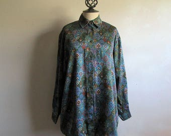 80s St Michaels Ornate Print Blouse Vintage Floral Diamond Green Russet Long Sleeve 1980s Shirt 12