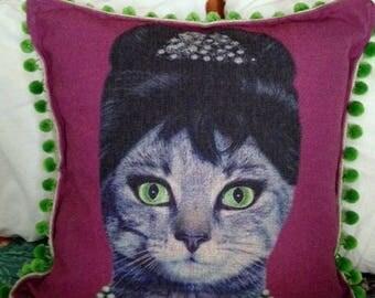 Audrey Catburn Cat Pillow Cover with Pom Pom trim