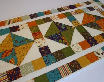 Quilted Table Runner in Fall Autumn Colors, Fall Quilted Table Topper, Thanksgiving Quilted Table Runner Quilt, Gold Purple Orange Teal