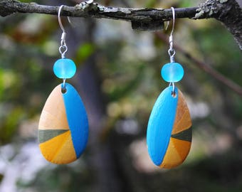 Blue with a Splash of Golds! Oval Wooden Earrings