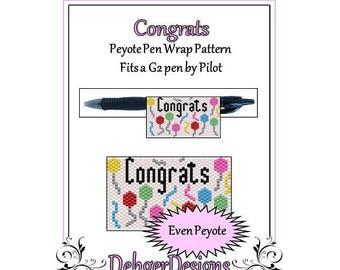 Peyote Beading Pattern (Pen Wrap/Cover)-Congrats