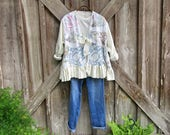 linen jacket with vintage linens one of a kind ready to ship