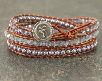Lavender Bracelet Crystal Pearl Leather Wrap Bracelet Shabby Boho Chic Jewelry Delicate Triple Leather Wrap Bracelet