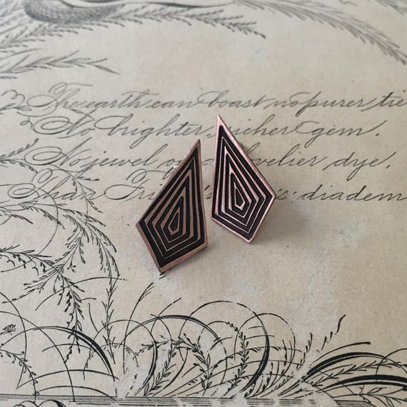 Copper Earrings | Copper Stud Earrings | Geometric Jewelry