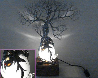 Reserved, NoT For Sale,  Full Moon rising, Wire Tree metal sculpture, Family of three, Selenite Sphere lamp, table LED accent lamp