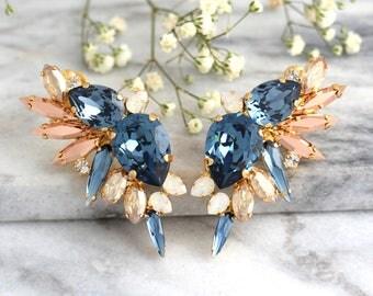 Climbing Earrings, Blue Navy Earrings, Bridal Climbing Earrings, Dark Blue Climbing Earrings, Crystal Ear Cuff, Trending Earrings, Ear Cuff