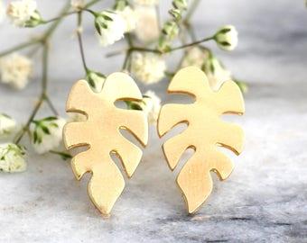 Palm Tree Earrings, Tropical Earrings. Gold Palm Tree Earrings, Tropical Wedding, Gift For Her, Gold Palm Studs, Palm Leaf Studs, Gold Studs