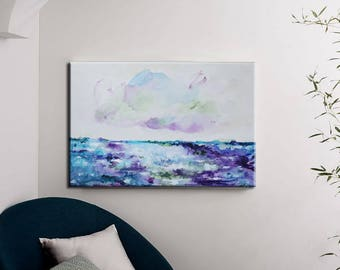 abstract art,seascape,wall decor, original painting ,landscape painting,Violet,purple,blue,Acrylic painting