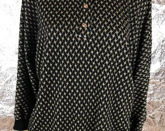Vintage 1980's Black & Gold Collared Sweater Top, Size L