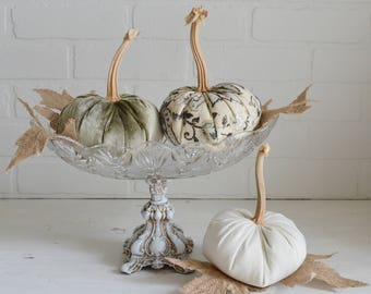 Velvet Pumpkins, Heirloom Pumpkin, Linen Pumpkin, Elegant Pumpkins, Fall Decor, Pumpkins, Pumpkin Trio, Floral Pumpkins, Heirloom Pumpkins