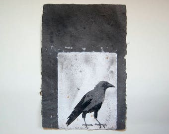 Caged Crow No. 6 – Pulp Painting on Handmade Abaca/Cotton Paper with feathers and gold foil inclusions (2016), Item No. 243.06