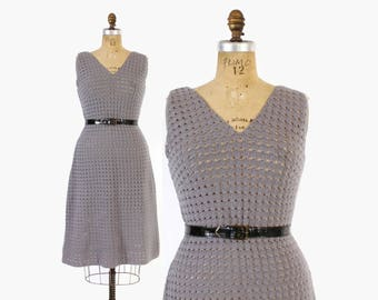Vintage 60s Knit DRESS / 1960s Gray Sweater Crochet Knit Fitted Dress M
