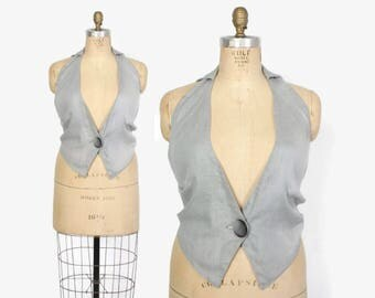 Vintage 30s Backless VEST / 1930s Gray Cotton Menswear Inspired Waistcoat