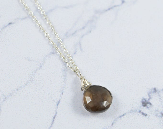 Smokey Quartz Necklace, Smokey Quartz Crystal Gemstone Necklace, Rose Gold Filled, Gold Filled, or Sterling Silver Necklace, Gift
