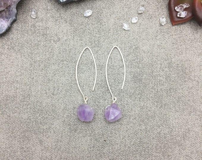 Lavender Amethyst Marquis Hoop Earrings