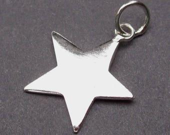 Silver Star Charm, Sterling Silver Star Pendant, Star Bracelet Charm, Necklace Sterling Silver Pendant with Sterling Silver Jump Ring