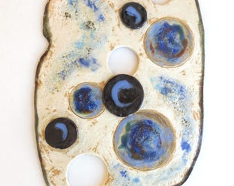 Abstract Ceramic Wall Hanging Contemporary Clay Wall Art blue And Cream Pottery Wall Decor Modern Home Decor Fine Ceramic Art