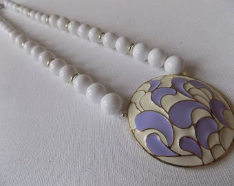 Vintage necklace, lavender and cream enamel pendant with white beads necklace, classic retro jewelry