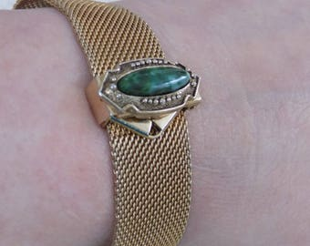 Vintage bracelet, signed Sarah Cov. mesh and faux jade cuff bracelet, Sarah Coventry jewelry