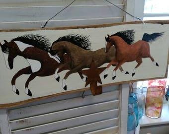 Beautiful three running horses Handpainted on wood
