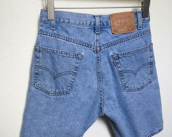 "Vintage denim shorts Levi's 505, light wash denim, 80s levi's shorts, stonewashed Levi's, 90s denim shorts high rise, high waisted, size 28"""