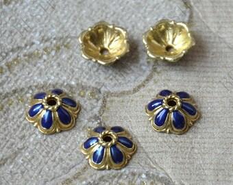 6 pcs of 10mm Enamel Golden metal flower bead cups,beadcap findings,beads,findings beads