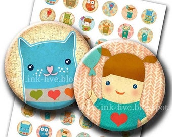 Digital Collage Sheet Cute Cartoons 1 inch round. Instant downloads graphics for kids. Printable inchies sheet. Girl, hearts, owl, cat