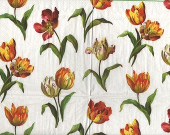 3283 set 2 yellow white tulips paper napkins