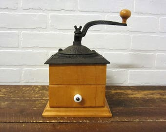 Vintage Wood and Cast Iron Coffee Grinder Primitive Kitchen Decor Portland CT