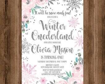 Winter Onederland Birthday Invitation, Pink and Silver Snowflake Floral Winter Onederland Party Printable Invitation