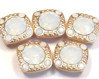 Five 2 Hole Slider Beads 2 Hole Spacer Beads 8mm White Opal & 2mm White Opal Rhinestones In Satin Gold, White Opal Rhinestone Beads