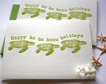 Holiday Letterpress Card Set Happy ho ho honu holidays Golden Green Folded