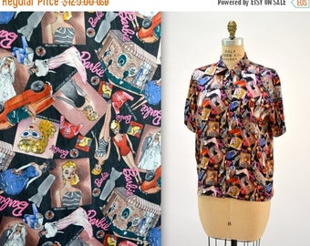 SALE 90s Vintage Nicole Miller Silk BARBIE doll Shirt Size Large Fashion Print