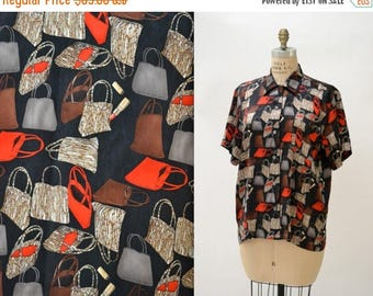 SALE 90s Vintage Silk Shirt by Nicole Miller Size Large with Hand bags Purses Shopping Bag Lady Print
