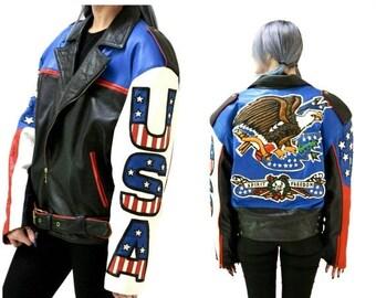 SALE Mens Vintage Black Leather Motorcycle Jacket USA America Bald Eagle by Volcano// Vintage Mens Leather Jacket Bicker USA American Flag J