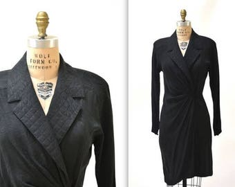 SALE Black Silk Wrap Dress Size Medium Large // Vintage Black Wrap Dress Shirt Dress Silk Wrap Dress Size Medium Large