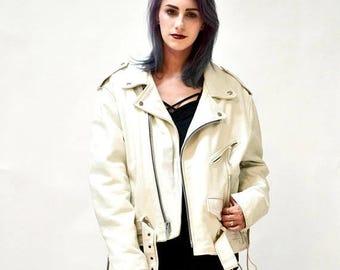 SALE Vintage White Leather Biker Jacket Size Large XL Motorcycle Jacket by LA Roxx Mens Womens White Biker Jacket Leather L.A. Roxx