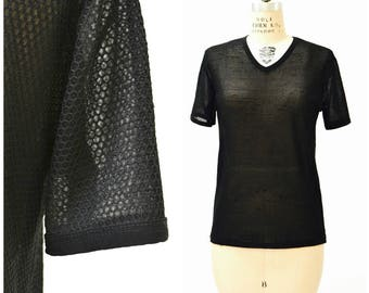 Vintage 90s Black Tee Shirt Size Large 90s Minimalist Shirt Sheer Mesh Honeycomb 90s Club Shirt