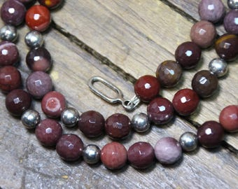 Moakite Gemstone Necklace with Sterling Silver Ball Spacers N1809