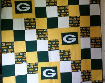 Green Bay Packers Quilt and two Pillowcases