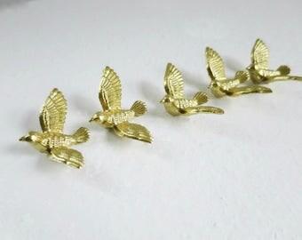 Gold Wedding Doves Birds Cup Cake Toppers, 5 Mini Diorama Golden Doves, Vintage Cake Top Decorations  SwirlingOrange11